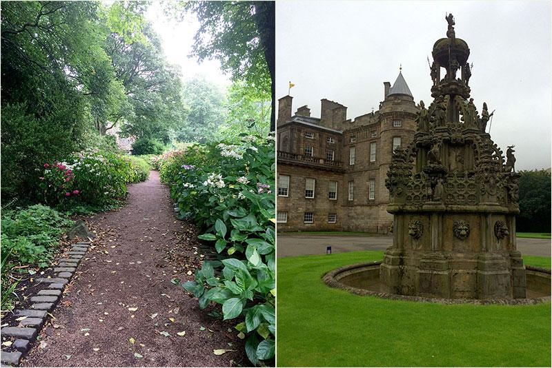Links der Garten von Palace of Holyroodhouse, rechts der Brunnen vom Vorplatz von Palace of Holyroodhouse.