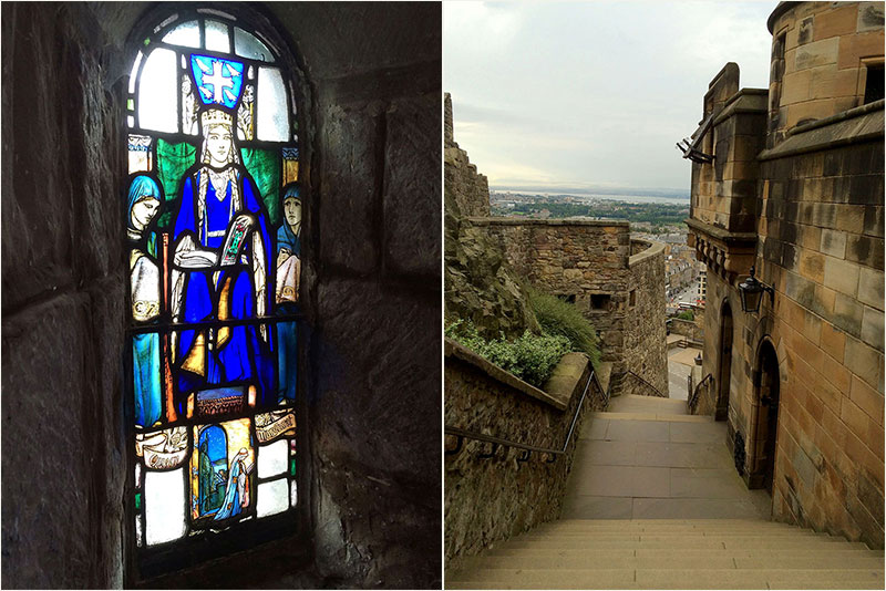 Links Fenster der St. Margaret-Chapel, rechts die lange Treppe.