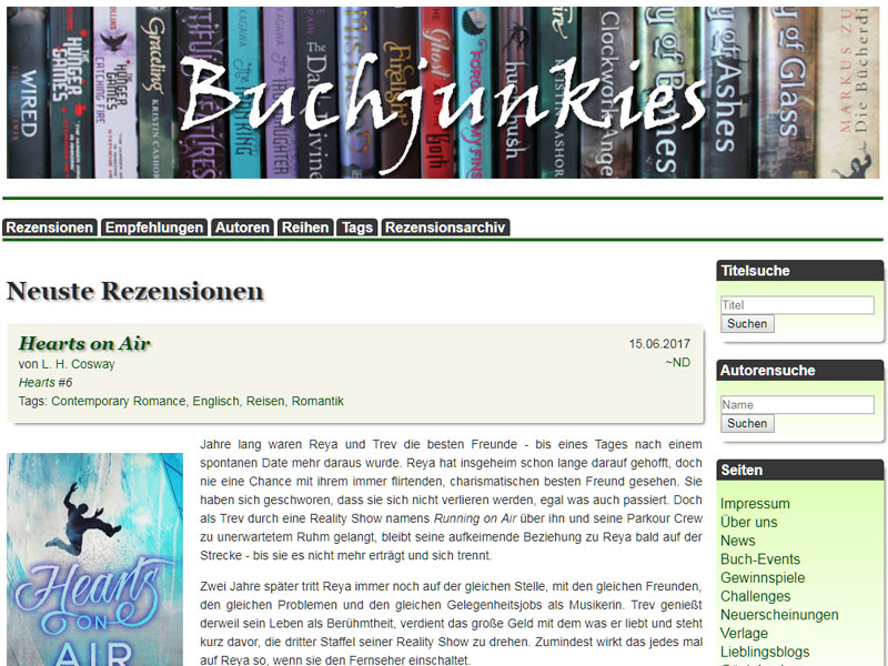 Screenshot von Buchjunkies