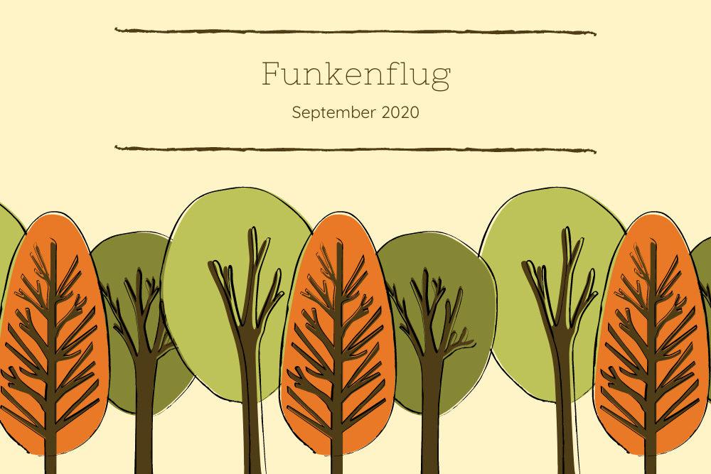 Symbolbild Monatsrückblick September 2020: Gemalte Bäume in herbstlichen Farben