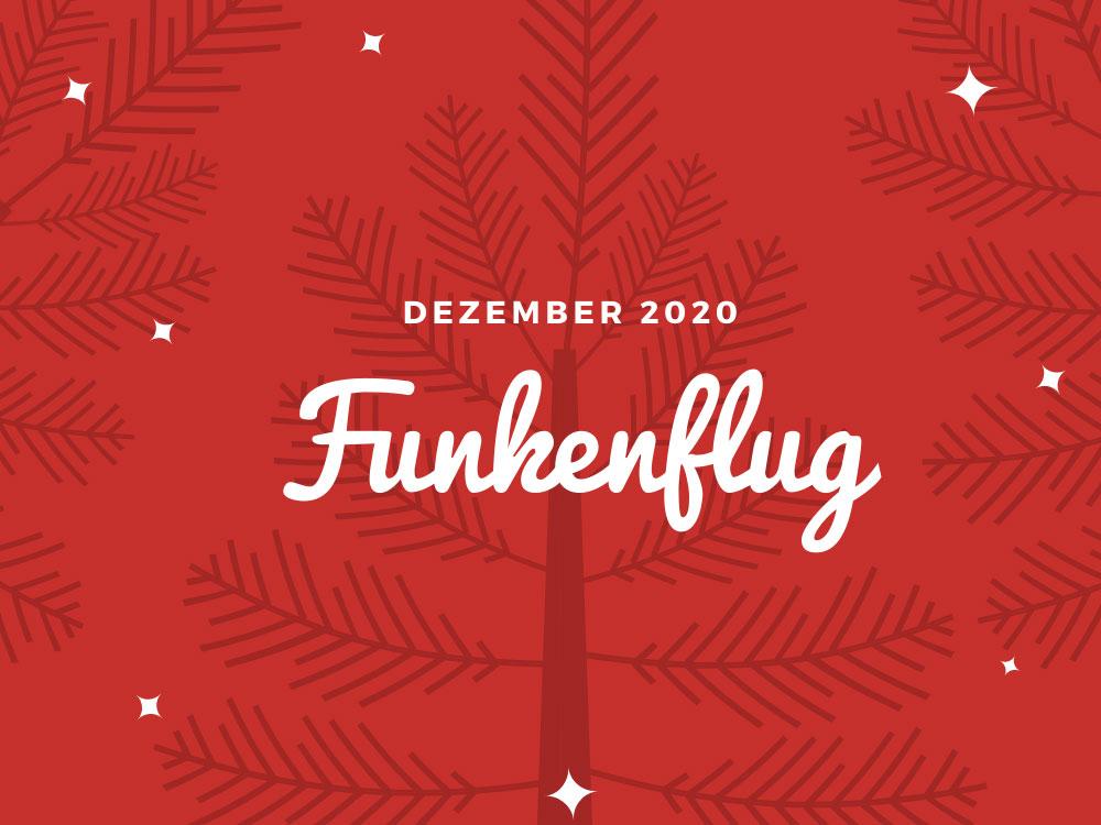 Symbolbild Monatsrückblick Dezember 2020: Stilisierter Baum vor rotem Hintergrund
