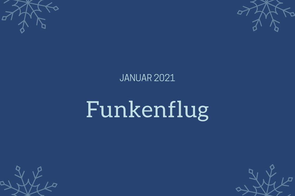 Symbolbild für Monatsrückblick Januar 2021: Dunkelblauer Hintergrund, Eissterne in den Ecken, Schriftzug Januar 2021. Funkenflug.